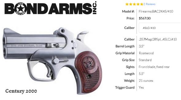 "Bond Arms C2K Defender 410/45LC, 3.5"" Interchangable barrel, 2 Rounds, Stainless Steel Satin Finish, Rosewood Grips 💲💲Cash $489.95 💲💲"