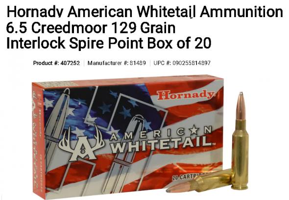 Hornady American Whitetail Ammunition 6.5 Creedmoor 129 Grain Interlock Spire Point Box of 20 💲💲Cash $17.95💲💲