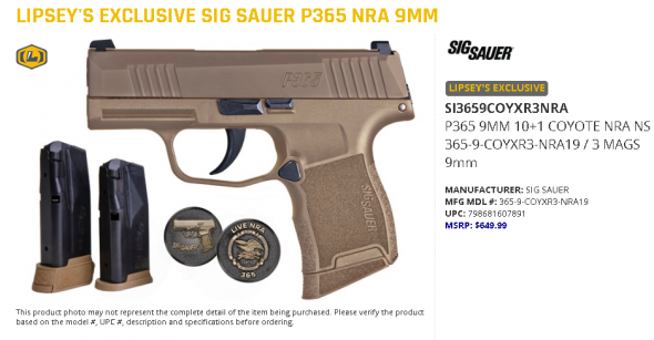 NRA FDE!!! Sig Sauer P365 NRA 9MM Lipsey's Limited Excursive Edition 💲💲Cash $574.95💲💲