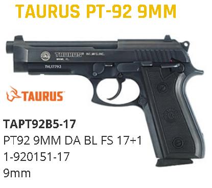 """Taurus 92 Standard 9mm 5"""" 17+1 Rubber Grip Fixed Sight w/Rail Blued 💲💲Cash $409.95💲💲"""