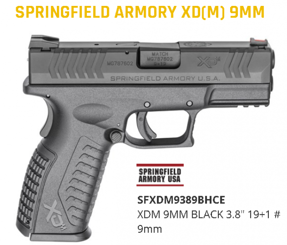 """Springfield, XDM, Striker Fired, Full Size, 9MM, 3.8"""" Barrel, Polymer Frame, Black Finish, Fiber Optic Front and Low Profile Combat Rear Sights, 2 Magazines, 19 Rounds 💲💲Cash $544.95 💲💲"""
