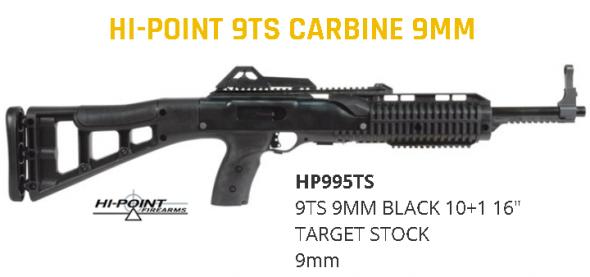 "Hi Point 995TS Model 995TS Carbine SA 9mm 16.5"" 10+1 Synthetic Stk Black 💲💲Cash $279.95💲💲"