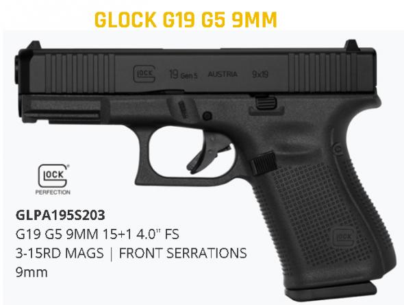 Glock G19 G5 9mm 15+1 4.0 Serr Fs 3-15rd Mags | Front Serrations 💲💲Cash $559.95💲💲