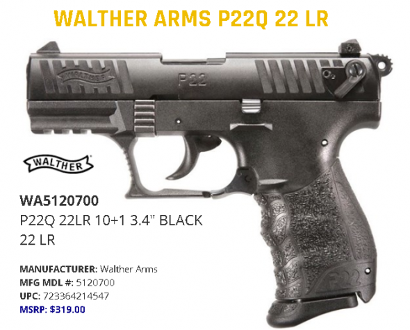"""Walther, P22Q, Semi-Automatic, Double Action, Compact, 22LR, 3.4"""" Barrel, Polymer Frame, Black Finish, 10Rd, 2 Magazines, 3 Dot Polymer Sights 💲💲Cash $289.95💲💲"""