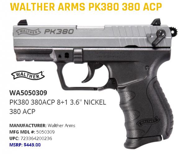 "Walther PK380 Nickel 380 ACP 3.66"" Barrel 8+1 Round, Black Polymer Frame 💲💲Cash $419.95💲💲"