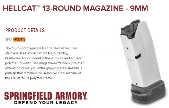 Springfield, Magazine, Hellcat, 9MM, 13 Round, Stainless 💲💲Cash $32.49💲💲