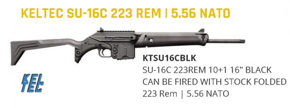 """Kel-Tec SU16C SUB-16 Sport Utility Carbine SA 223 Rem 16"""" 10+1 Fldng Syn Stk Blk 💲💲Cash $549.95💲💲"""