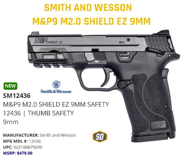 S&W Shield M2.0 M&p 9mm Ez Blackened Ss/blk Thumb Safety 💲💲Cash $424.95💲💲