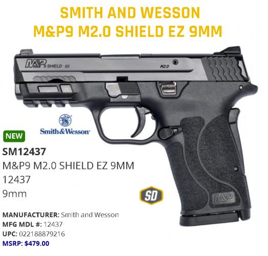 SMITH & WESSON M&P SHIELD EZ 9MM PISTOL WITHOUT MANUAL SAFETY, BLACK 💲💲Cash $424.95💲💲