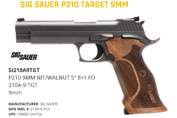 """Sig Sauer, P210, Semi-automatic, Single Action Only, Full, 9MM, 5"""", Steel Frame, Walnut Grips, 2-8Rd Magazines Cash 💲💲$1698.95💲💲"""