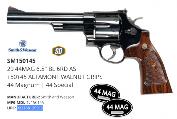 "Classic Reborn!!! Smith & Wesson 29 Classic 44 Mag 6.5"" Barrel, 6 Rounds, Altamont Service Walnut Grip Blue Finish 150145 💲💲Cash $1179.95💲💲"
