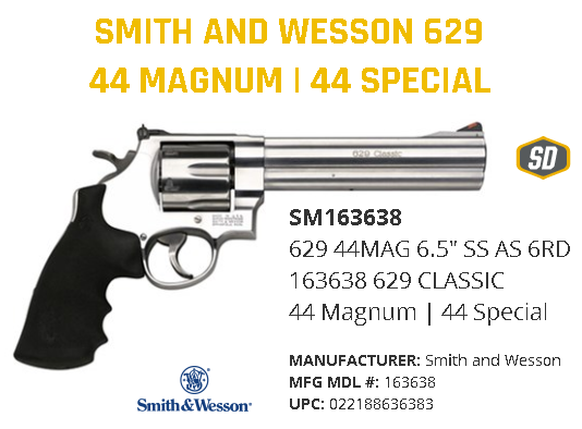 """Dirty Harry Style!!! Smith & Wesson 629 Classic 44 Mag 6.5"""" 6rd Rubber Grip Matte Stainless Finish 163638  💲💲Cash $879.95💲💲"""