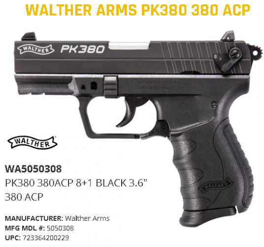 """Walther PK380, Semi-automatic, Double Action, Compact, 380ACP, 3.6"""", Polymer, Blue, 8Rd, 1 Mag, Adjustable Sights 💲💲Cash $359.95💲💲"""