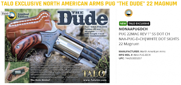 """Hot 2020!!! TALO Exclusvive Nort American Arms PUG """"The Dude"""" 22 Magnum💲💲Cash $429.95💲💲"""