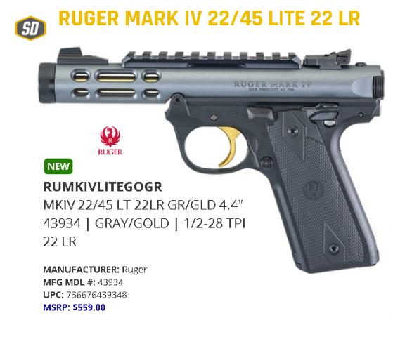 "Hot 2020!!!! Ruger, Mark IV 22/45 Lite, Semi-Automatic, 22LR, 4.4"" Threaded Barrel, Polymer Frame, Diamond Gray Finish, Checkered Grips, 10Rd, Adjustable Rear Sight 💲💲Cash $484.95💲💲"