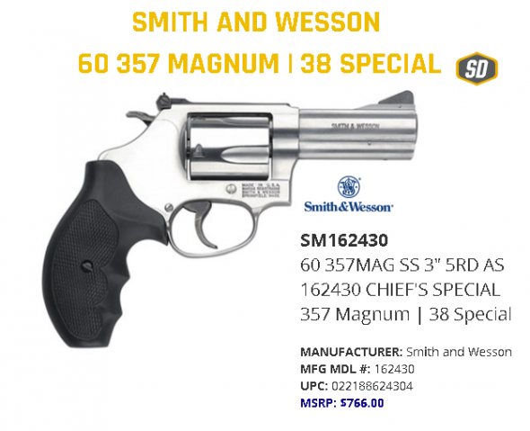 """Smith & Wesson Mod 60 357 Remington Magnum 3"""" 5rd Adj Sights Syn Grip Stainless 162430  💲💲Cash $649.95💲💲"""