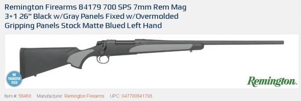 """Hard to Find LH!!! Remington 700 SPS Left Hand Bolt 7mm Remington Mag 26"""" 3+1 Syn Stk Blued 💲💲Cash $539.95💲💲"""