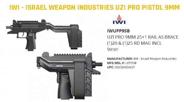Awesome!!! IWI Uzi Pro Pistol With Folding Stablizing Brace 9mm 4.5 Inch Barrel Adjustable Sights Picatinny Rails Three Safeties 25 Round 💲💲Cash $1124.95💲💲