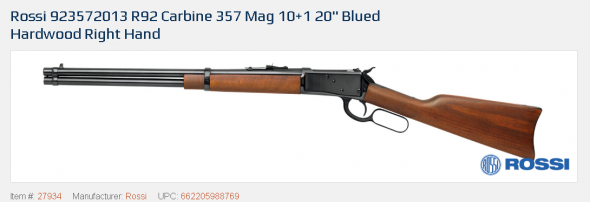 """Rossi, R92, Lever Action, 357 Mag, 20"""" Round Barrel, Blue Finish, Wood Stock, Adjustable Sights, 10Rd 💲💲Cash $499.95💲💲"""