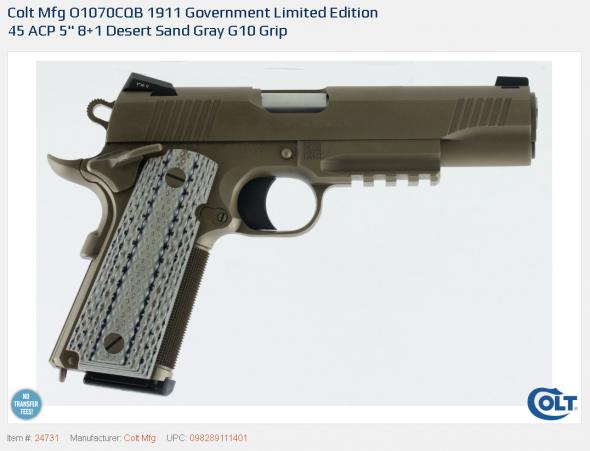 King of 1911s!!! Colt CQB Government Limited Edition .45 ACP 5 Inch Barrel Armor Black Cerakote Slide Novak Night Sights G10 Grips 8 Round 💲💲Cash $2074.95💲💲