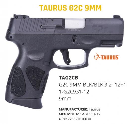 Taurus G2C Newest PT-111 Millennium 9mm 3.25 Inch Barrel Blue Finish Textured Finish 12 Round 💲💲Cash $199.95💲💲