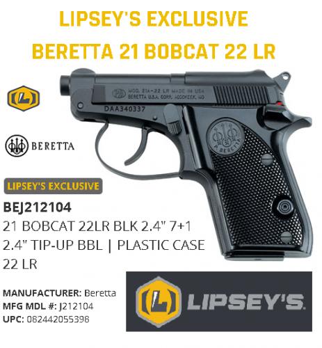 "Harder to Find!!! Beretta 21 Bobcat 22 LR DA 2.4"" 7+1 Synthetic Grip Matte Black J212104  💲💲Cash $349.95💲💲"
