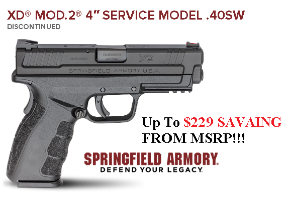 """Super Priced!!! Springfield, XD-MOD.2 with GripZone, 40S&W, 4"""" Barrel, Polymer Frame, Black Finish, Fiber Optic Front and Low Profile Combat Rear Sights, 12Rd, 2 Magazines 💲💲Cash $329.95💲💲"""
