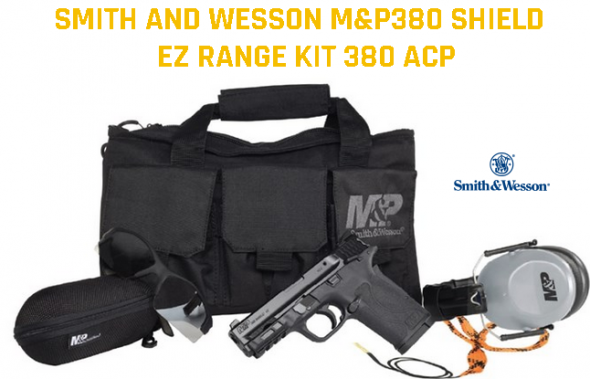 """Full Deal Range Kit!!! S&W, M&P380 Shield 380 EZ, Semi-Automatic, Compact Frame, 380 ACP, 3.675"""" Barrel, Polymer Frame, Black Finish, 8Rd, Range Kit Includes Soft Case, Hearing Protection, Eye Protection, and Pull Through Cleaner,$$Cash $399"""