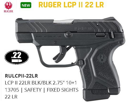"""MEGA HOT 2020!!! Ruger LCP II """"Lite Rack"""" 22 LR 2.75"""" 10+1 Black Blued Steel Slide Black Polymer Grip $$Casj $309.99$$"""