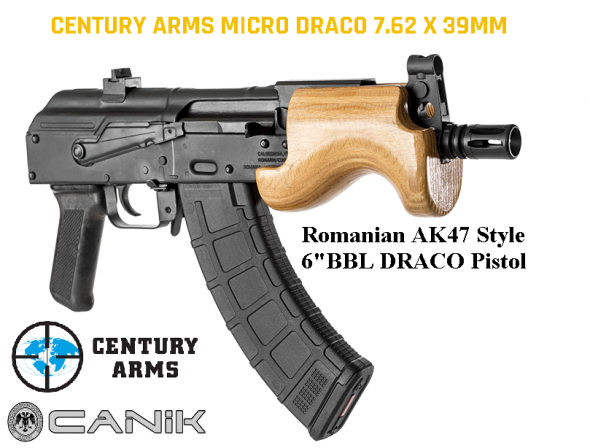 """Century Micro Draco AK Pistol, Semi-automatic, 762X39, 6"""" Barrel, Steel Frame, Black Finish, Polymer Grips, Comes with 1-10Rd and 1-30Rd magazine, Removable Flash Hider, Wood Hand Guard $$Cash$699.95$"""
