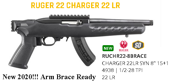"""Brace Yourself!!! Ruger, 22 Charger w/ Railed Brace Mount, Rimfire Pistol, 22 LR, 8"""" 1/2-28 Threaded Barrel, Matte Black Finish, A2-Style Grip, Black Polymer Stock, Picatinny Top Rail Installed, 15Rd, Includes Adjustable Bipod $$ Cash$329.95 $$"""