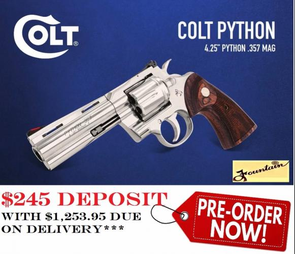 """PO DEPOSIT ONLY: NEW COLT PYTHON 2020 357 MAG, STAINLESS, 4.25"""" BARREL,  6 ROUNDS - New for 2020!!!"""