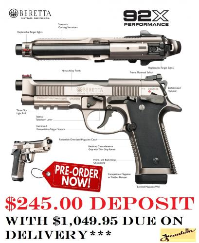 PO DEPOSIT ONLY: Beretta 92X Performance 9mm - New 2020!!!