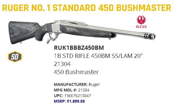 """Ruger No 1 Laminate Falling Block 450 Bushmaster 20"""" 1 Laminate Black Stk Stainless Steel 💲💲Cash $1224.95💲💲"""