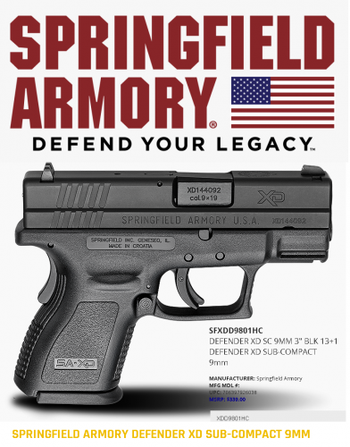 """Super Value!!!  Springfield, XD9, Defender Series, Striker Fired, Sub Compact, 9MM, 3"""" Barrel, Polymer Frame, Black Finish, Fixed Sights, 1 Magazine, 13Rd"""