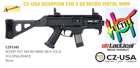 "Mega Hot 2020!!! CZ MICRO Scorpion EVO 3 S2 with SB Side Folding Brace 4"" Barrel 9mm 💲💲Cash $1229.95💲💲"