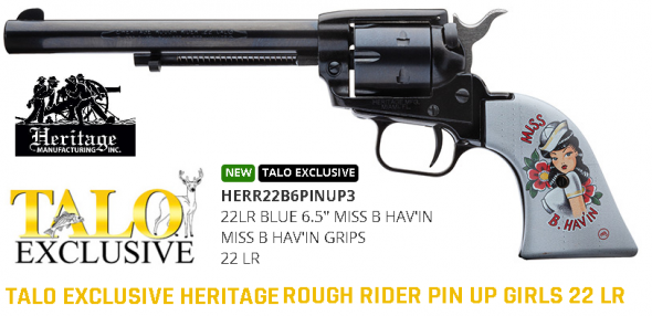 Pinup Edition!!! Heritage Manufacturing Inc, Rough Rider Miss B. Hav'in - TALO Edition, Single Action, 22 LR, 6 Shot, Miss B. Hav'in Grips