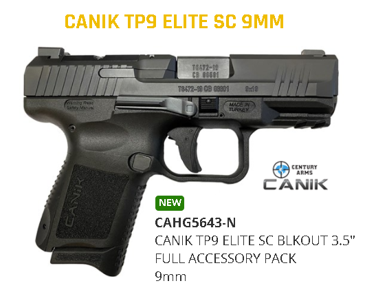 "New 2020!!! CANIK, TP9 Elite SC Blackout Edition, Semi-Automatic Pistol, Striker Fired, 9MM, 3.6"" Barrel, Polymer Frame, Black Finish, Micro Red-Dot Base, Holster & Interchangeable Back Straps, 12 Round, 2 Magazines"