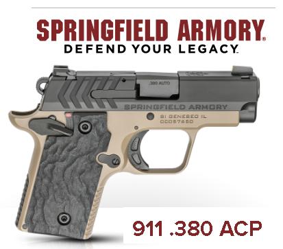 Springfield, 911, 1911 Micro Compact, 380ACP, 2.7' Barrel, Alloy Frame, Desert FDE Cerakote Finish, Black Nitride Slide, 2 Magazines, 1-6Rd & 1-7Rd, Tritium Night Sights 💲💲Cash $529.95💲💲