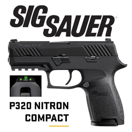 """Sig Sauer, P320 Compact, Double Action Only, 9MM, 3.9"""" Barrel, Polymer Frame, Nitron Finish, Night Sights, 15Rd Magazine, with 1913 Rail💲💲Cash $564.95💲💲"""