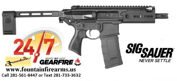 Sig Sauer, MCX Rattler, Semi-automatic Pistol, 300 Blackout, 5.5' Barrel, Aluminum Frame, Pivoting Contour Brace (PCB), M-Lok Handguard, Black Finish, 30Rd, 1 Magazine 💲💲Cash $2,499.95💲💲
