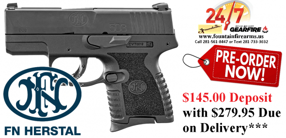 "PO DEPOSIT ONLY:FN America, FN 503, Semi-automatic, Striker Fired, Compact, 9MM, 3.1"" Barrel, Polymer Frame, Black, 8Rd & 6Rd Mag, 3-Dot"