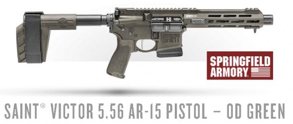 Springfield, SAINT Victor Pistol, Semi-Automatic, AR, 223 Remington/556NATO, Stainless Steel 7.5' Barrel, 1:7 Twist, OD Green Finish, BCM Trigger Guard & Mod 3 Pistol Grip, M-LOK Free Float Handguard, 10Rd PMAG 💲💲Cash $1594.95💲💲
