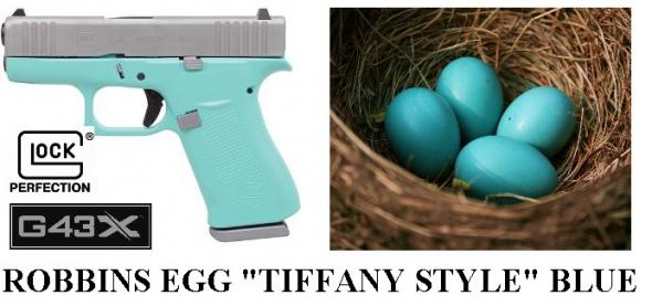 SUPER RARE!!! GLOCK 43X 9MM ROBBINS EGG 'TIFFANY STYLE' BLUE / SILVER SLIDE 💲💲Cash $699.95💲💲