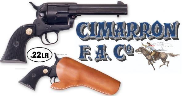 """Cimarron ASPLINK-1 SET Plinkerton Revolver, 4.75"""" Barrel, 22LR, 6 shot, Matte Blk, Blk Syn Grip, Front Blade, W/Holster 💲💲Cash $299.95💲💲"""