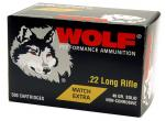Wolf 22XTRA 22 LONG RIFLE MATCH RIMFIRE 22 Long Rifle Round Nose 40 GR 5000Rds