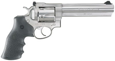 """Ruger, GP100 Standard, Double-Action Revolver, 357 Mag, 6"""" Barrel, Satin Stainless Finish, Stainless Steel, Hogue Monogrip Grips, Adjustable Rear & Ramp Front Sight, 6Rd"""