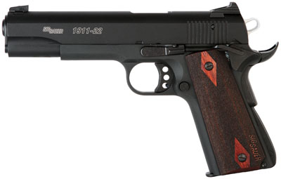 "Sig Sauer 1911 22LR 5"" 10+1 Custom Wood Grip Black Finish"